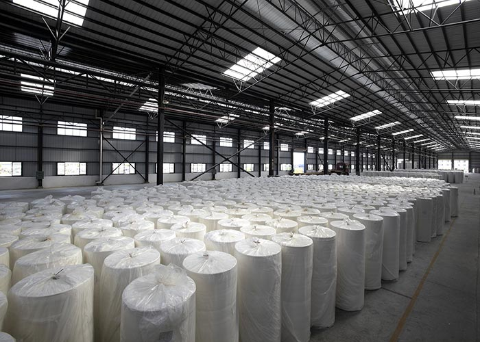 Warehouse full of paper made with ceramic foils and other ceramic components