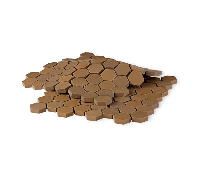 Brown hexagonal wear tile array