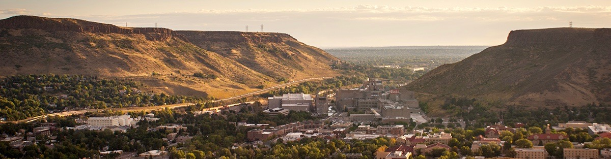 Photo of Golden, Colorado overlooking the city and the Colorado School of Mines.