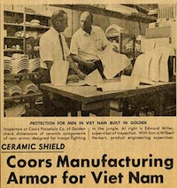 Newspaper clipping about CoorsTek manufacturing armor for the Vietnam War.