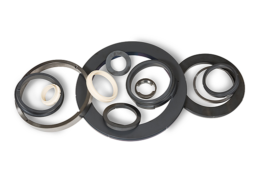 Hard face seals made with technical ceramics and superior for oil extraction applications.