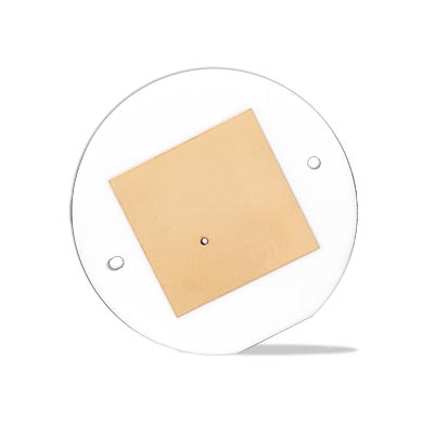 Metallized alumina GPS antenna component for automotive applications.