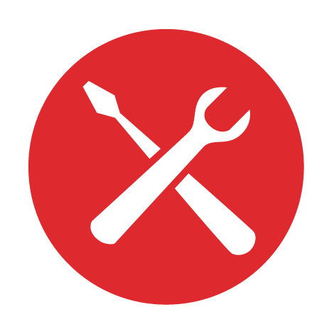 Red icon with tools.