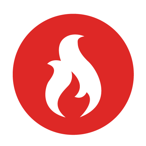 Red icon with a flame graphic in the center.