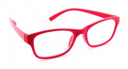 Photo of red eyeglasses.