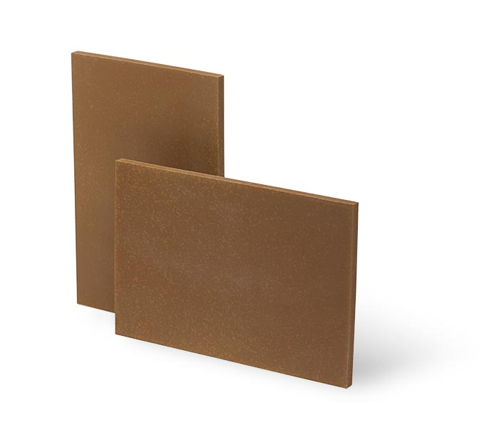 Brown wear-resistant tiles made with alumina.