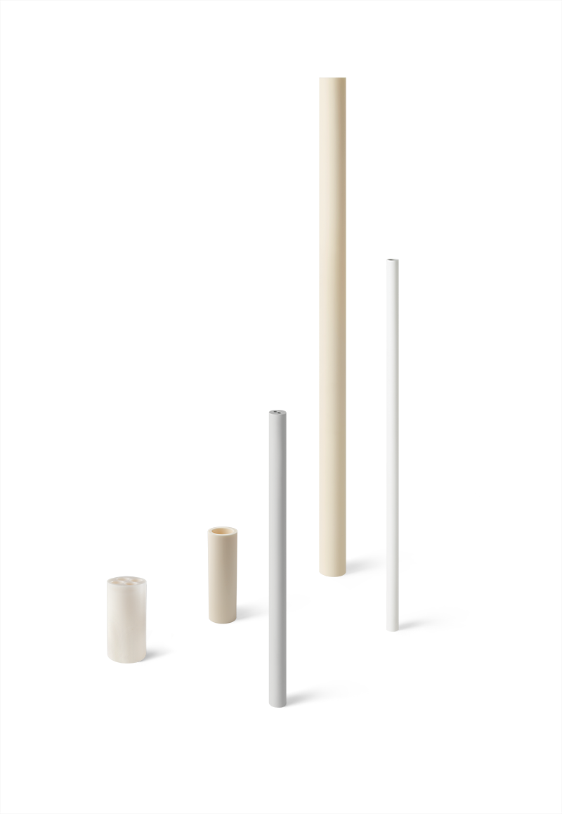 Various Coorstek tubes and rods made with technical ceramics.